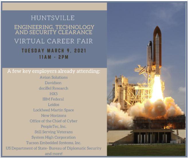 Huntsville Engineering, Technology & Security Clearance Virtual Career Fair
